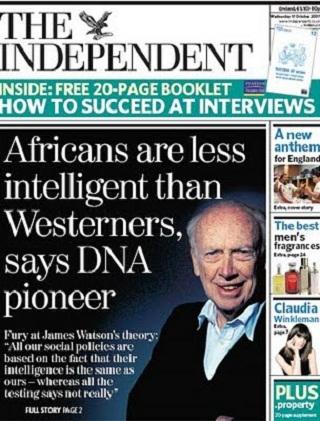 Watson africans less intelligent Nobel